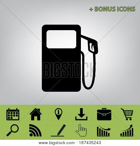 Gas pump sign. Vector. Black icon at gray background with bonus icons at celery ones