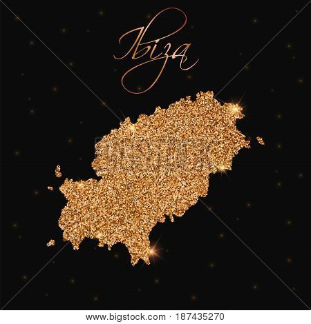 Ibiza Map Filled With Golden Glitter. Luxurious Design Element, Vector Illustration.
