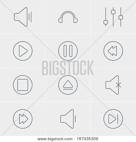 Vector Illustration Of 12 Music Icons. Editable Pack Of Lag, Rewind, Decrease Sound And Other Elements.