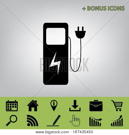 Electric car charging station sign. Vector. Black icon at gray background with bonus icons at celery ones