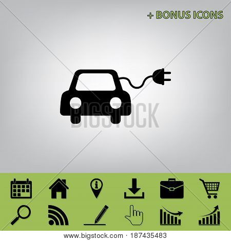 Eco electric car sign. Vector. Black icon at gray background with bonus icons at celery ones