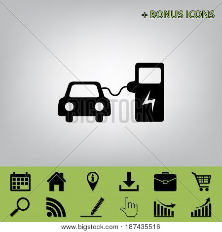 Electric car battery charging sign. Vector. Black icon at gray background with bonus icons at celery ones