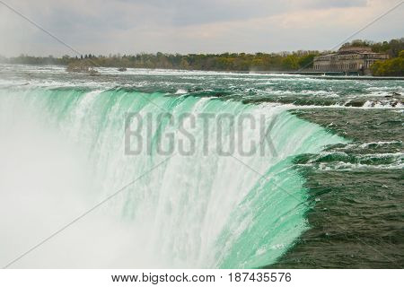 The powerful water stream in Niagara Falls, Ontario, Canada