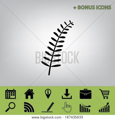 Olive twig sign. Vector. Black icon at gray background with bonus icons at celery ones
