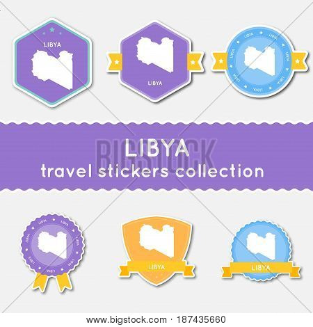 Libya Travel Stickers Collection. Big Set Of Stickers With Us State Map And Name. Flat Material Styl