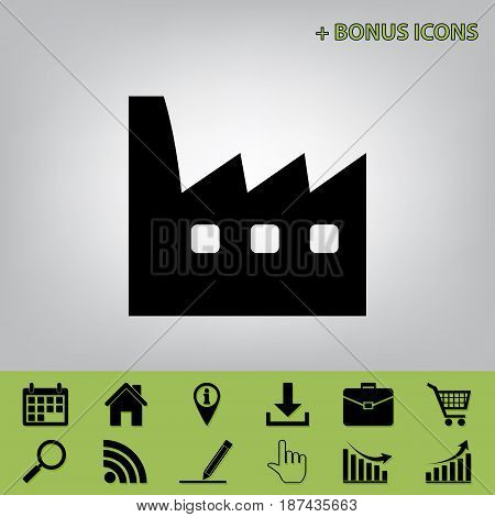 Factory sign illustration. Vector. Black icon at gray background with bonus icons at celery ones