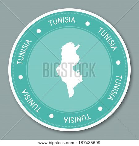 Tunisia Label Flat Sticker Design. Patriotic Country Map Round Lable. Country Sticker Vector Illustr