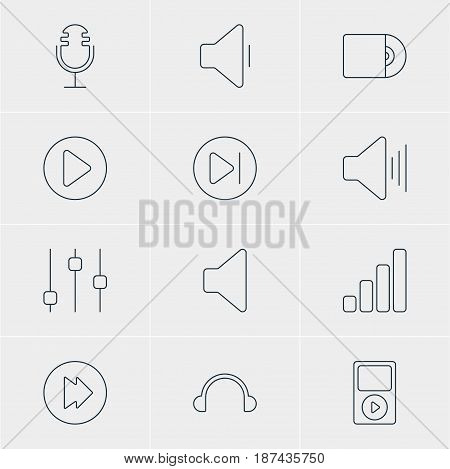Vector Illustration Of 12 Music Icons. Editable Pack Of Stabilizer, Advanced, Mp3 And Other Elements.