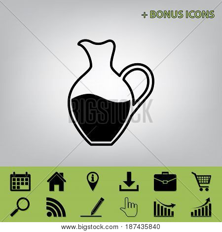 Amphora sign. Vector. Black icon at gray background with bonus icons at celery ones