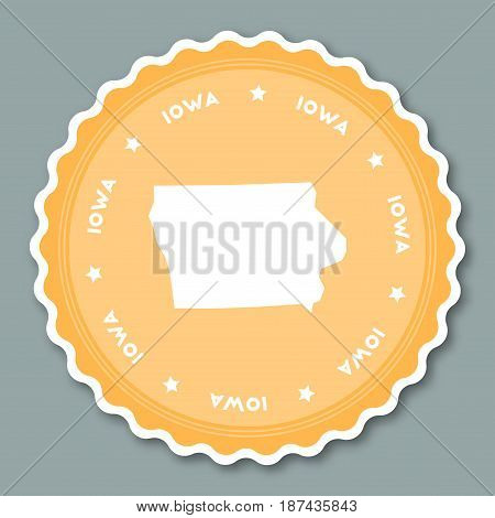 Iowa Sticker Flat Design. Round Flat Style Badges Of Trendy Colors With The State Map And Name. Us S