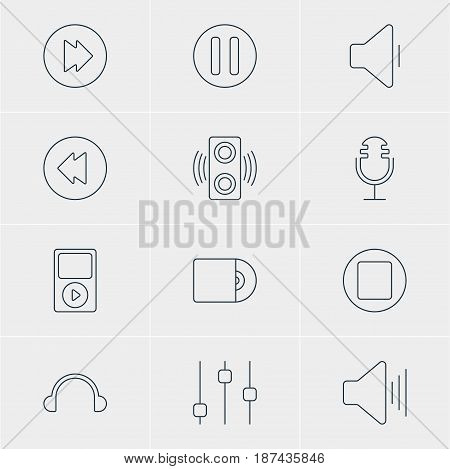 Vector Illustration Of 12 Music Icons. Editable Pack Of Stabilizer, Reversing, Compact Disk And Other Elements.