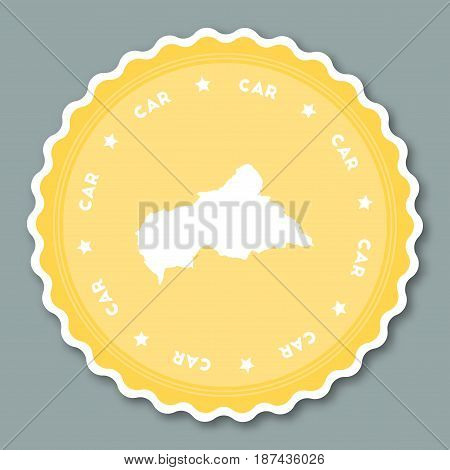 Central African Republic Sticker Flat Design. Round Flat Style Badges Of Trendy Colors With Country