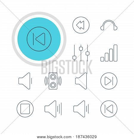 Vector Illustration Of 12 Melody Icons. Editable Pack Of Preceding, Reversing, Earphone And Other Elements.