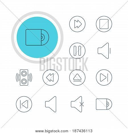 Vector Illustration Of 12 Music Icons. Editable Pack Of Lag, Amplifier, Advanced And Other Elements.
