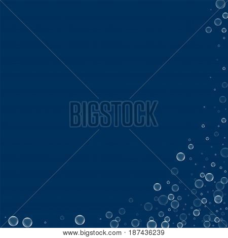 Soap Bubbles. Abstract Right Bottom Corner With Soap Bubbles On Deep Blue Background. Vector Illustr