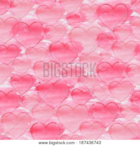 Watercolor hand drawn seamless pattern with hearts on a white background . Watercolor illustration