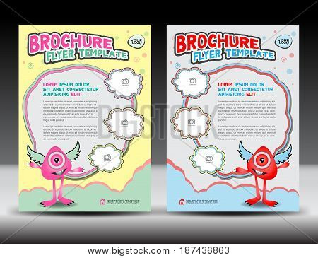 Business brochure flyer templater education cover design monster cartoon vector illustration poster