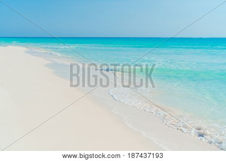 Perfect white beach with green palms and turquoise water