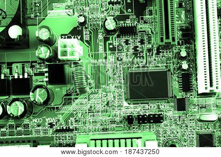 Circuit Board. Electronic Computer Hardware Technology. Motherboard Digital Chip. Tech Science Backg