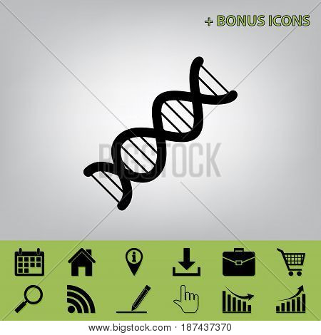 The DNA sign. Vector. Black icon at gray background with bonus icons at celery ones