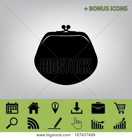Purse sign illustration. Vector. Black icon at gray background with bonus icons at celery ones