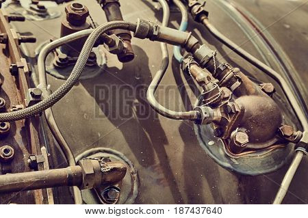 Detail of the engine of an old airplane