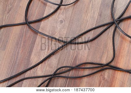 Electric wires on the floor