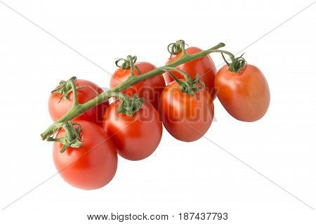 Cherry Tomato Bunch Closeup Isolated On White Background