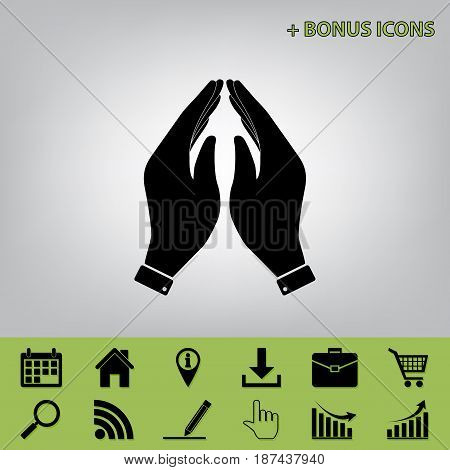 Hand icon illustration. Prayer symbol. Vector. Black icon at gray background with bonus icons at celery ones