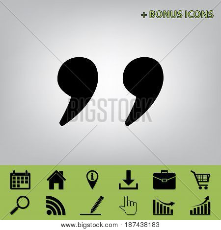 Quote sign illustration. Vector. Black icon at gray background with bonus icons at celery ones