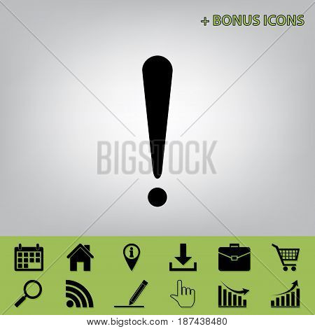 Attention sign illustration. Vector. Black icon at gray background with bonus icons at celery ones