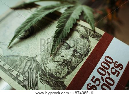 Marijuana And Money High Quality Stock Photo