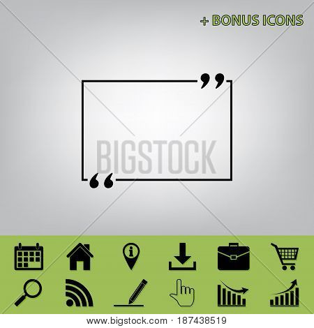 Text quote sign. Vector. Black icon at gray background with bonus icons at celery ones