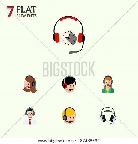 Flat Telemarketing Set Of Operator, Service, Call Center And Other Vector Objects. Also Includes Call, Hotline, Secretary Elements.