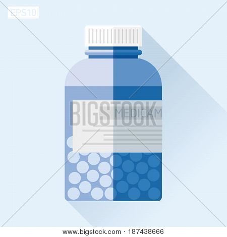Jar with medicine. Medical bottle in flat style, pill bottle on color background. Vector design element