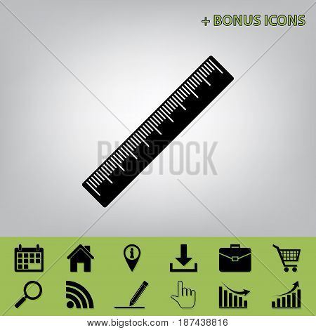 Centimeter ruler sign. Vector. Black icon at gray background with bonus icons at celery ones