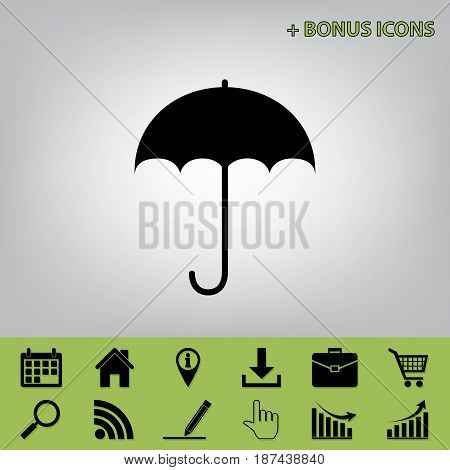 Umbrella sign icon. Rain protection symbol. Flat design style. Vector. Black icon at gray background with bonus icons at celery ones
