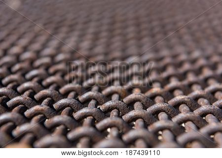 Close Up Angle View of Rusted Metal Mesh
