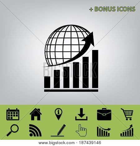 Growing graph with earth. Vector. Black icon at gray background with bonus icons at celery ones