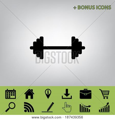 Dumbbell weights sign. Vector. Black icon at gray background with bonus icons at celery ones