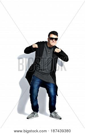 strange man attitude man on isolated white background dancing , having fun. Isolate on white