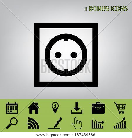 Electrical socket sign. Vector. Black icon at gray background with bonus icons at celery ones