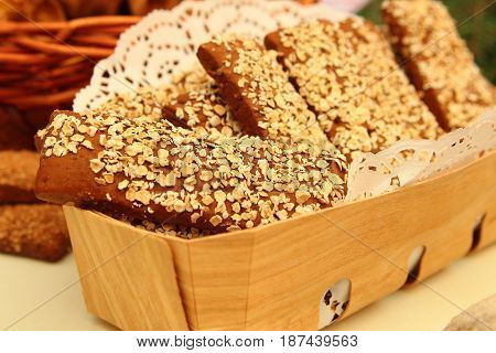 rye bread with  oat flakes in a basket