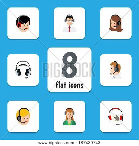 Flat Hotline Set Of Service, Headphone, Earphone And Other Vector Objects. Also Includes Online, Headphone, Human Elements.