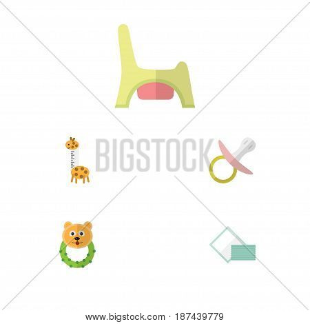 Flat Kid Set Of Nipple, Toy, Napkin And Other Vector Objects. Also Includes Beanbag, Tissue, Nipple Elements.