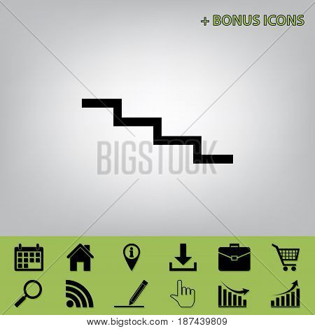 Stair down sign. Vector. Black icon at gray background with bonus icons at celery ones