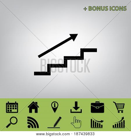Stair with arrow. Vector. Black icon at gray background with bonus icons at celery ones