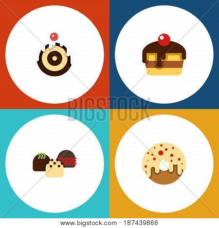 Flat Cake Set Of Dessert, Pastry, Cake And Other Vector Objects. Also Includes Dessert, Doughnut, Pastry Elements.
