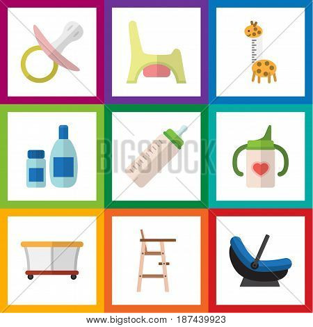 Flat Infant Set Of Playground, Nipple, Toilet And Other Vector Objects. Also Includes Cosmetics, Child, Playground Elements.