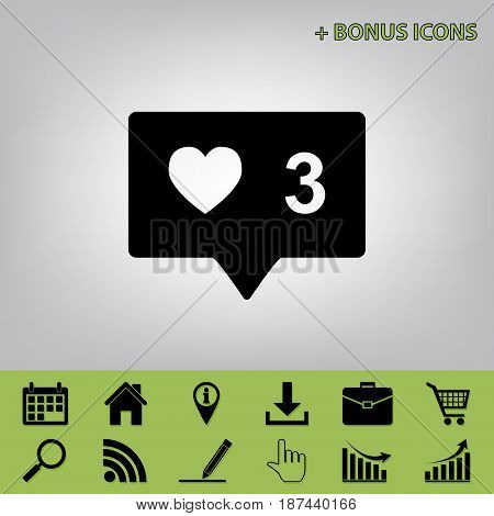 Like and comment sign. Vector. Black icon at gray background with bonus icons at celery ones